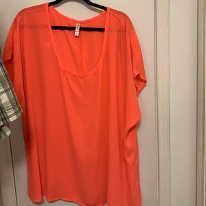 Short sleeve coral polyester blouse, 4X